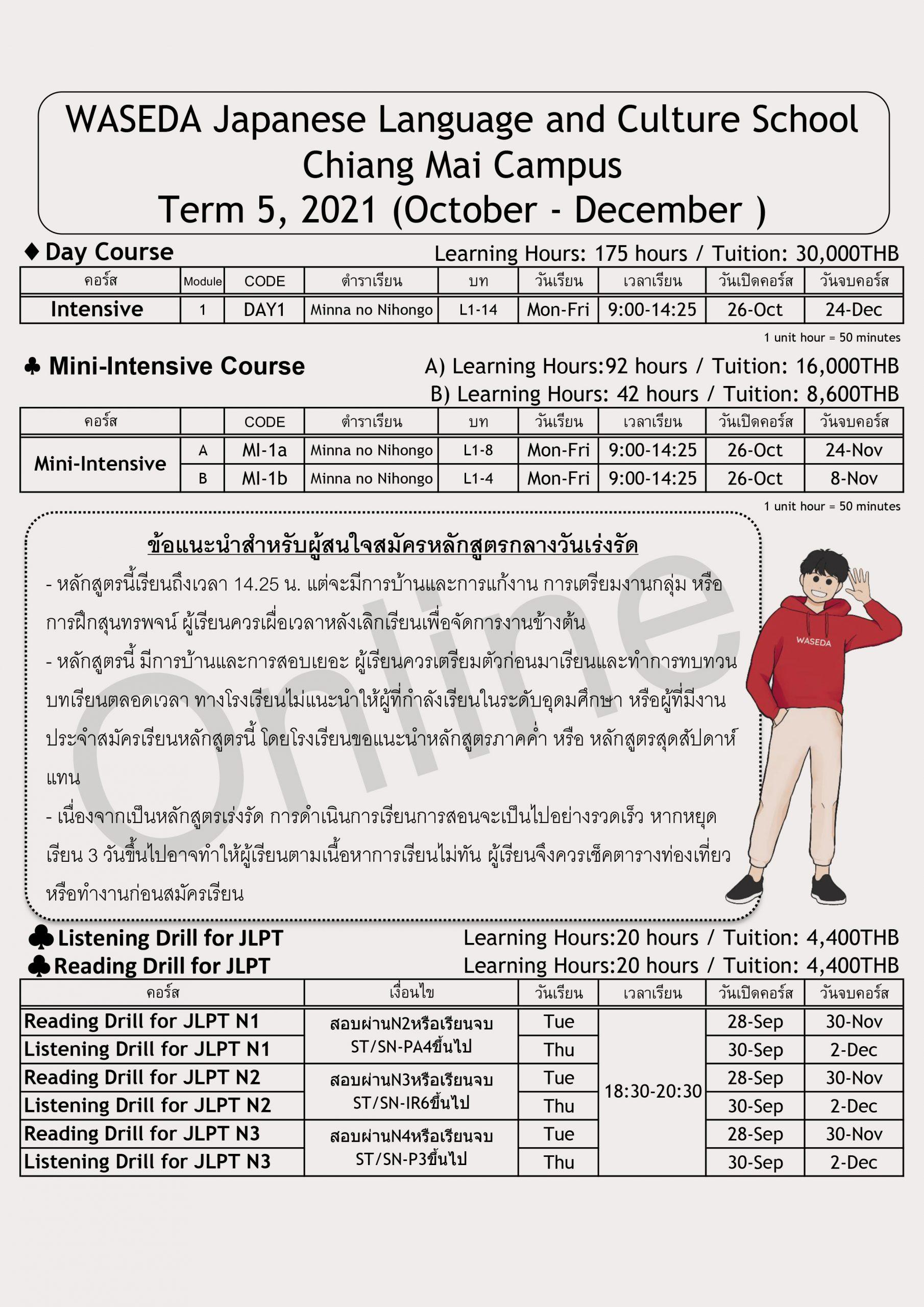 ตารางคอร์สเรียนภาษาญี่ปุ่น